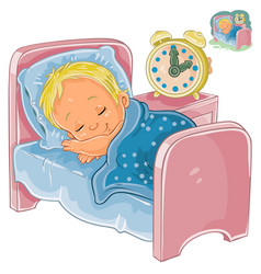 Little baby sleeping in his bed vector