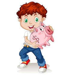Little boy holding piggy bank vector image