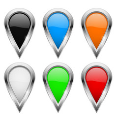 location pins colored icons with metal frame vector image