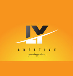 ly l y letter modern logo design with yellow vector image