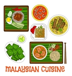 Malaysian cuisine dinner served on banana leaves vector