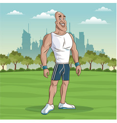 Man sport fitness park background vector