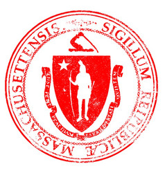 Massachusetts seal stamp vector