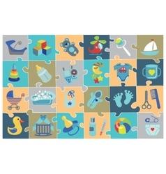 newborn baboy icons setbashower puzzle vector image