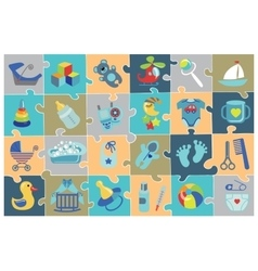 Newborn Baby boy icons setBaby shower Puzzle vector