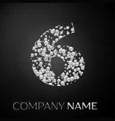 number six logo silver dots alphabet logotype vector image