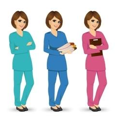 Nurse posing in three different scrubs vector
