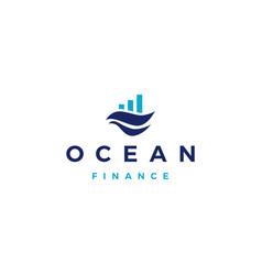 Ocean water sea wave finance financial bar chart vector