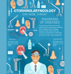 otorhinolaryngology ear nose sore throat vector image