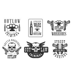 Outlaw street criminal retro labels set ghetto vector