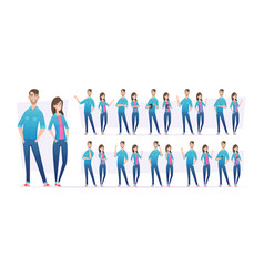 people in jeans male and female characters vector image