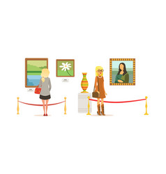 people looking at paintings at exhibition vector image