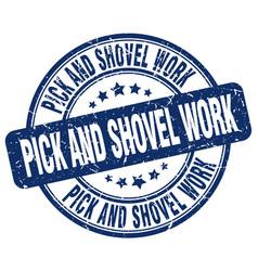 Pick and shovel work blue grunge stamp vector