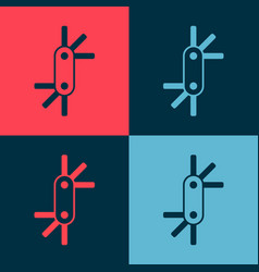 Pop art tool allen keys icon isolated on color vector