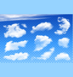 Realistic clouds on blue transparent background vector