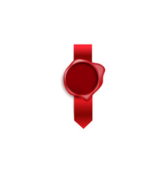 realistic red wax seal stamp with silk ribbon vector image