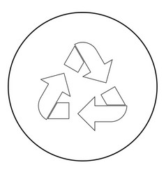 recycling arrows in a circle the black color icon vector image
