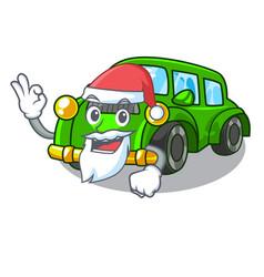 Santa classic car toys in cartoon shape vector