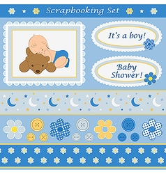 Scrapbooking set for baby boy vector image