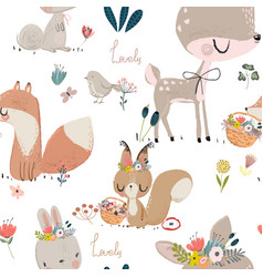 Seamles pattern with cute animals vector