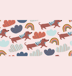 Seamless pattern with cute dachshund dogs vector