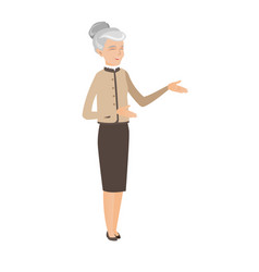 Senior caucasian happy business woman gesturing vector