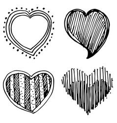 set of design heart shaped vector image