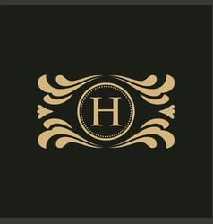 set of elements in style of mono line luxury logo vector image