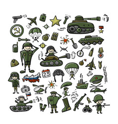 set of military icons sketch for your design vector image