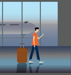 simple cartoon of a man carrying a luggage at the vector image