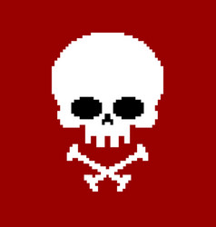 skull pixel art head of skeleton pixelated vector image