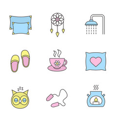 sleeping accessories color icons set vector image