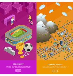Soccer Stadium Olympic Village Isometric Banners vector