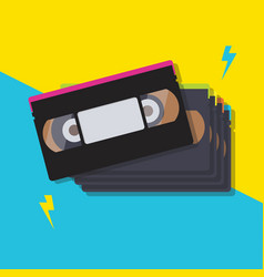 stack of video cassette tapes vector image