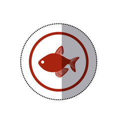 Sticker red circular border with fish vector