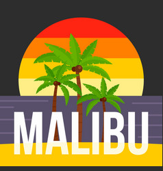 Sunset palm tree malibu beach background flat vector