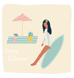 surfer gitrl resting on the beach vintage poster vector image