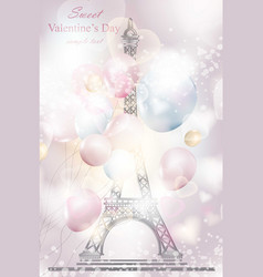 sweet valentine day romantic card with balloons vector image