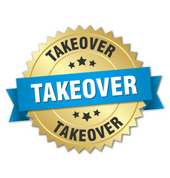 Takeover 3d gold badge with blue ribbon vector
