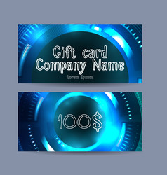 template gift certificate with technical vector image