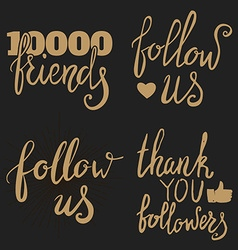 Thank you followers Thank you friends Social vector