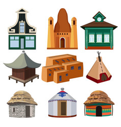 Tribal small houses of different nationalities vector