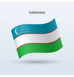 Uzbekistan flag waving form vector image