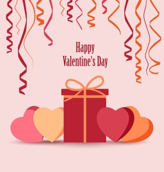 Valentines card with ribbons gift and hearts vector