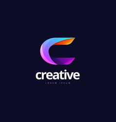 vibrant trendy colorful creative letter c logo vector image