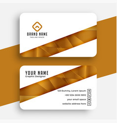 white and golden business card design template vector image