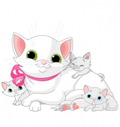 White cats family vector