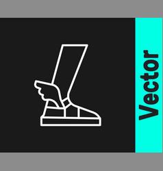 White line hermes sandal icon isolated on black vector