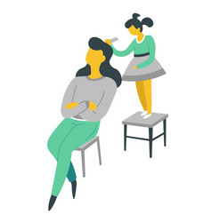 Woman and daughter brushing her hair isolated vector