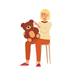 woman sitting on chair and sewing children toy vector image